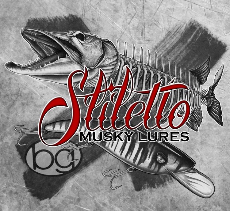 Stiletto Musky Lures Logo grunge