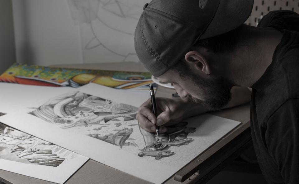 Nick working on design
